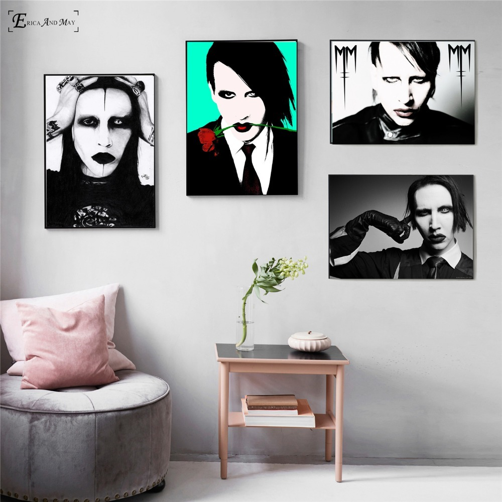 Marilyn Manson Black And White Canvas Painting Posters And Prints For Living Room No Framed Wall Art Picture Home Decor