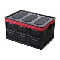 Auto Trunk Storage Organizer Big Capacity Multifunctional Foldable Plastic Container Box (Black)