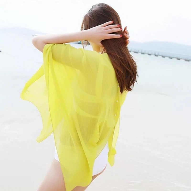 2019 Новая Летняя Сексуальная женская накидка Кафтан шифон одежда для плавания пляжная одежда Бикини платье для пляжного отдыха