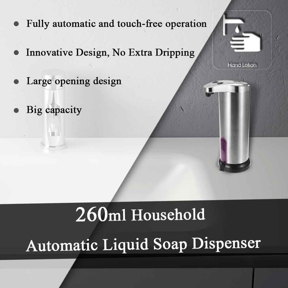 Household Automatic Liquid Soap Dispenser Stainless Steel Touchless  Dispensers Pump Shower Kitchen Soap Bottle for Bath