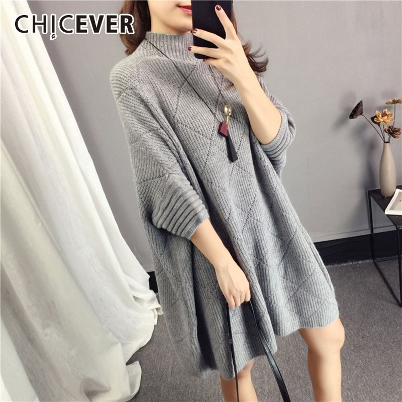 CHICEVER Autumn Knitted Pullovers Female Sweater For Women Top Jumper Batwing Sleeve Loose Big Size Sweaters Clothes Fashion New