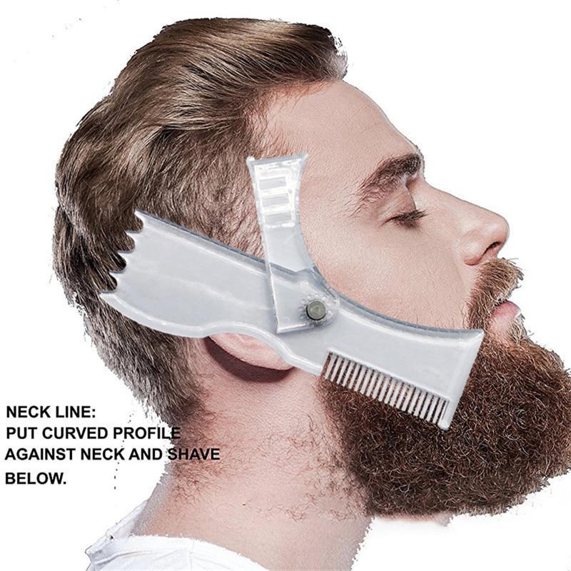 5 En 1 Nouveau Rotatif Hommes Barbe Faconnage Style Modele Peigne Pochoir Transparent Cheveux Barbes Garniture Modeles Visage Beaute Outil Leather Bag