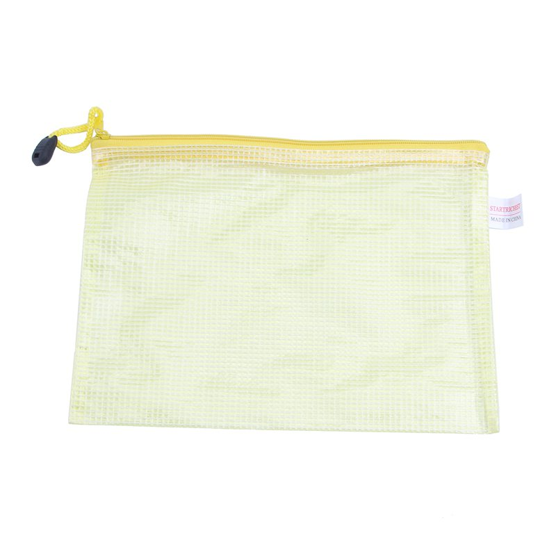 10 X Office Grid A5 File Document Paper Zip Pocket Holder Yellow