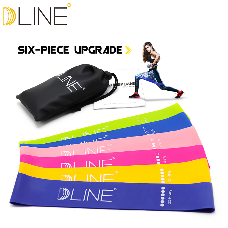 Resistance Bands Set 6 Levels Elastic Latex Gym Strength Training 60CM Rubber Yoga Bands Workout Fitness