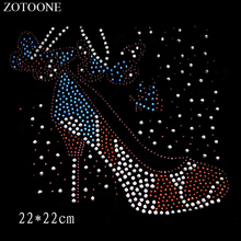 ZOTOONE High Heels Motif Rhinestones Crystal Clear Hotfix Rhinestone Applique for Clothes Decoration Needlework Crystals E