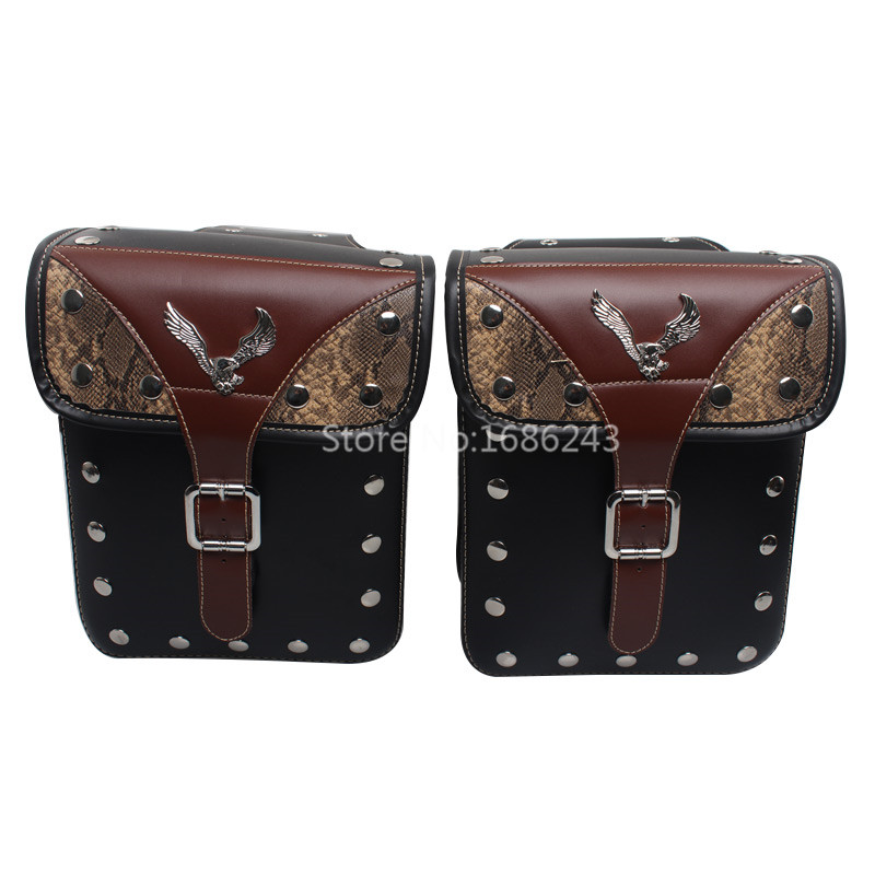 Scooter Left & Right Tool Bag Luggage SaddleBag Flying Eagle Chrome Rivet Surface Decoration Motorcycle Universal-in Motorcycle Trunk from Automobiles & Motorcycles    1