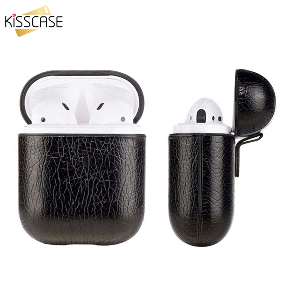 KISSCASE Earphone Case Crazy Horse Pattern Leather Headphone Bag For Airpods Earpods Wireless Bluetooth Earphone Accessories Bag