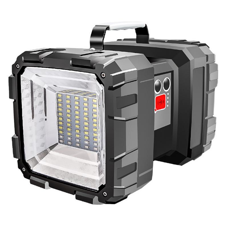 Super Bright Double Head Flashlight Searchlight USB Rechargeable Portable Outdoor Emergency Light Solar Work Light Fishing Light