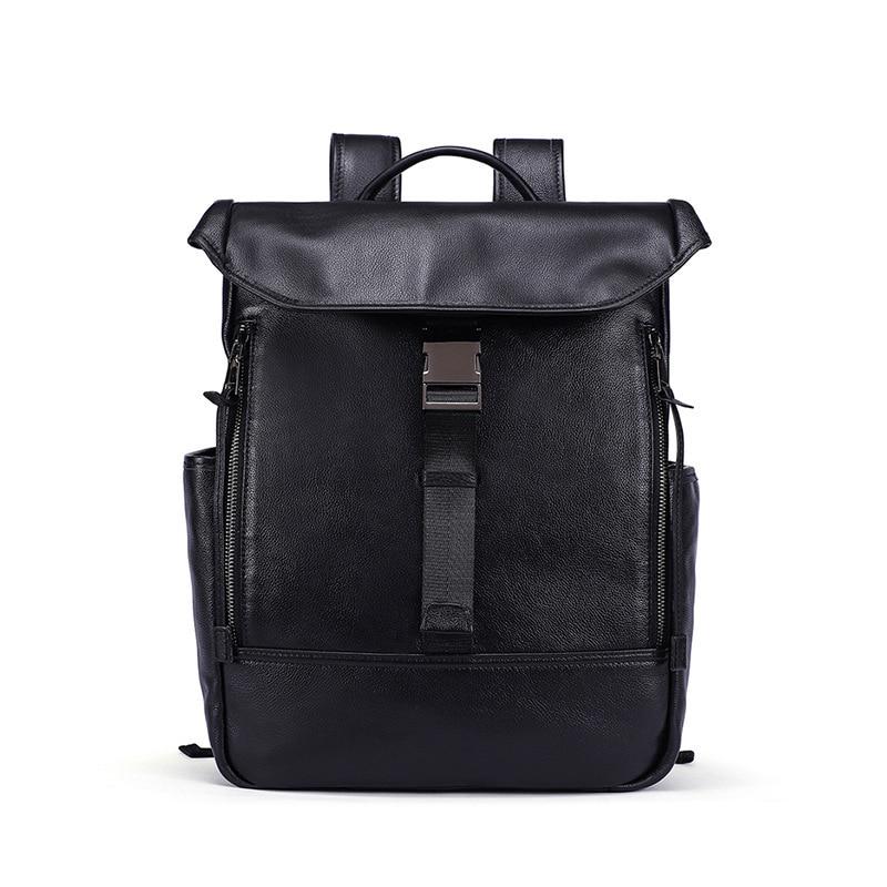 New Vintage Men Genuine Leather Backpacks Large Capacity Zipper Solid Backpack for Teenagers High Quality Black Shoulder Bags