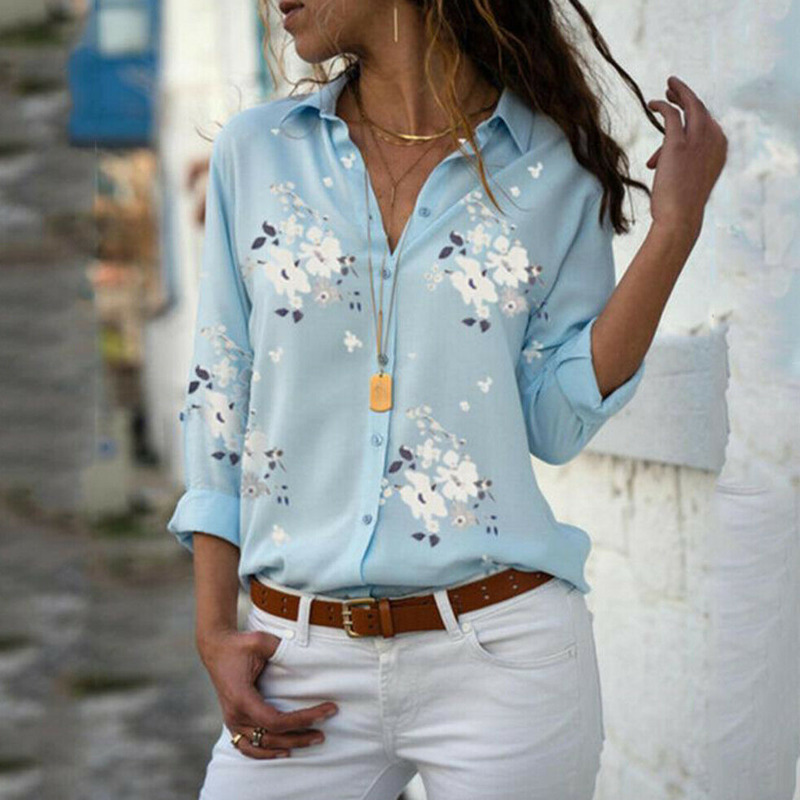 2019 Floral Print Women   Shirts   Summer Autumn Casual Turn-down Collar Chiffon   Blouse   Women Top Long Sleeve   Blouse   Femme   Shirt
