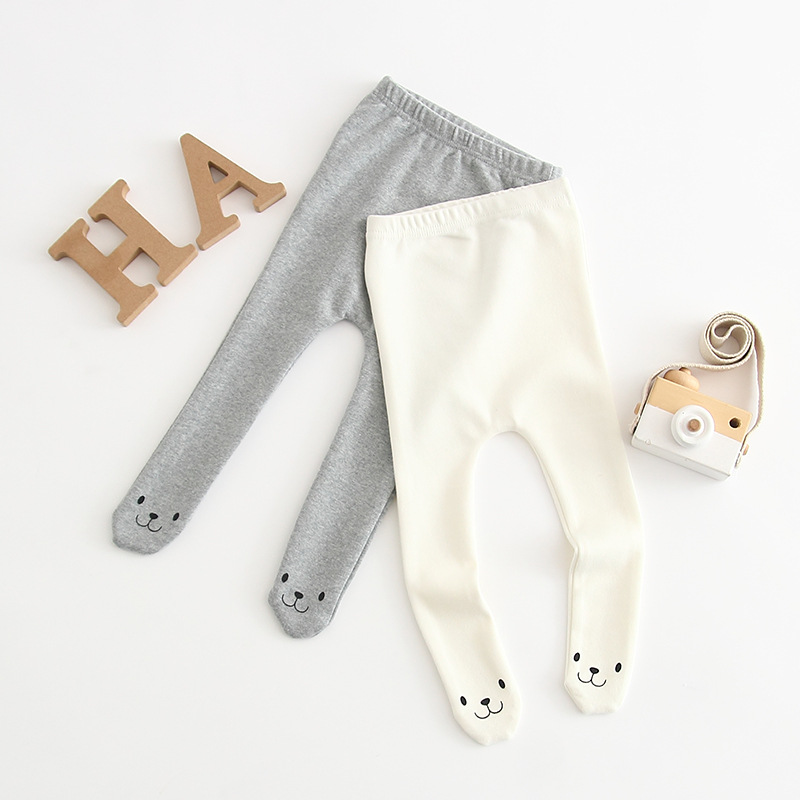 Cartoon Smile Face Bear Design Baby Leggings Infant Kids Pants Toddler Boy/girls Trousers Children Pants 0-24m