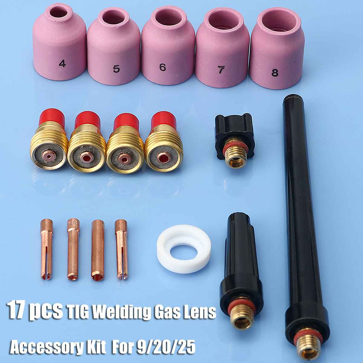 Heißer Verkauf 17 stücke Wig-schweißbrenner Gas Objektiv Zubehör Full Kit Set für WP9/20/25 Serie 0.040