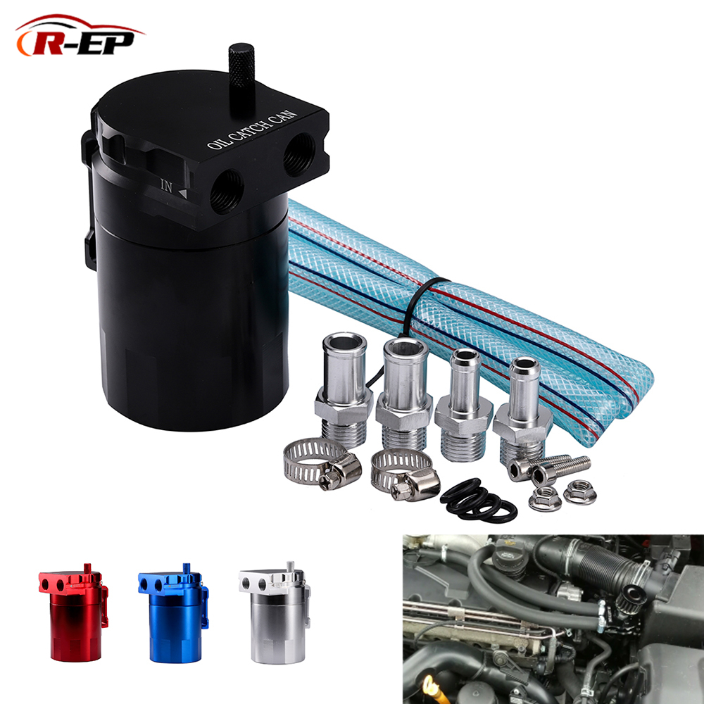 Silver Aluminum Baffled Oil Catch Can Tank Reservoir Breather With Fittings J6I4