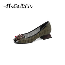 AIKELINYU 2019 Top Quality Handmade Woman Pumps Hollowed Genuine Leather Elegant  Office Lady Shoes Rhinestone Comfortable