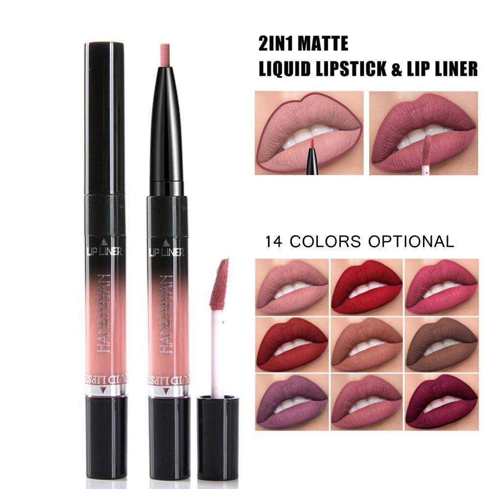 14Color Lipstick Long Lasting Makeup Red Lip Matte Lip Stick Lips Liner Double Ended Waterproof Mate Nude Makeup Matter Lipstick 2
