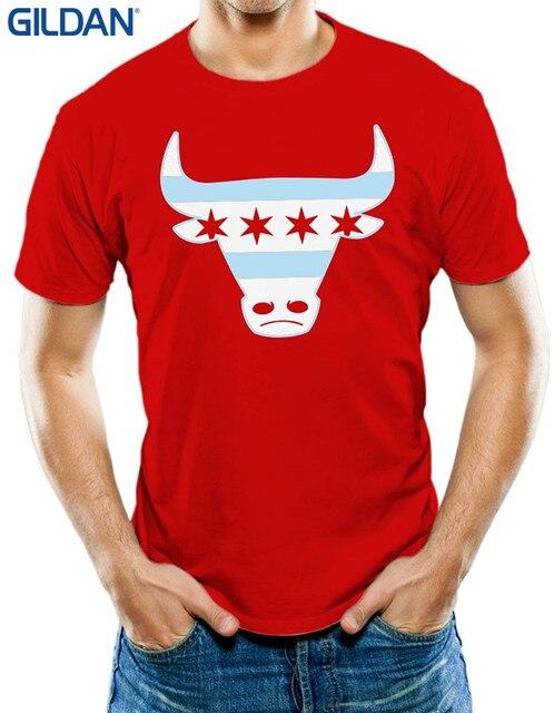48c31363e66d Men Tee Shirt Tops Short Sleeve Cotton Fitness T-shirts Men s Chicago Flag Bull  T