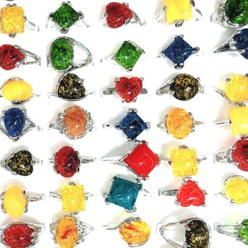 Charm Gift New Jewelry Fashion Silver Resin Imitation Stone Mixed Color Rings 100pcs/Lot FREE Shipping For Women
