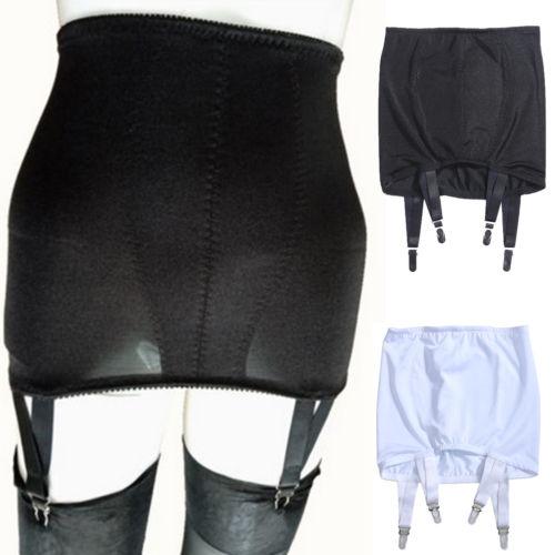 2020 Sexy Women Girls Solid Elastic High Waist Lace Hollow Out Suspender Garter Belt G-String Skirt