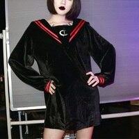 2018 Autumn Black Gothic Velvet Sweatshirt Women Moon Embroidery Pullover Striped Navy Collar Retro Long Top Female Outerwear