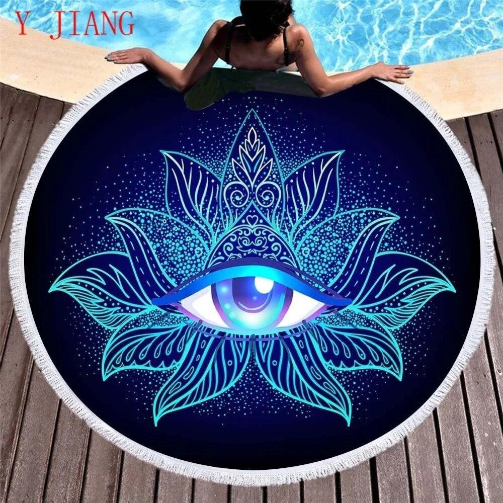 Boho Style Eye Totem Round Beach Towels Microfiber Tassels Travel  Tablecloth Picnic Mat Bath Mat Serviette 20x20cm