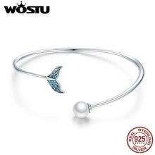 WOSTU High Quality 925 Sterling Silver Mermaid's Tear Pearls Bracelets Open Size Friendship Bracelets For Women Jewelry CQB123