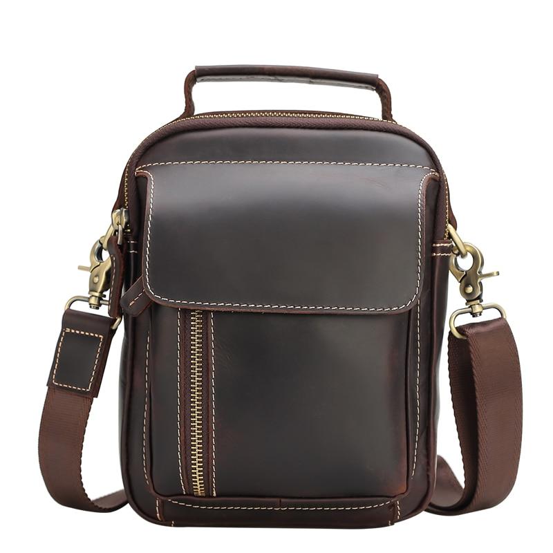 купить TIANHOO Genuine leather men bags & vintage style fashionable crazy horse leather messenger shoulder bags for travel hand bag по цене 3212.2 рублей