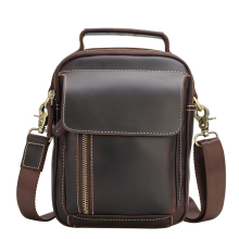 TIANHOO Genuine leather men bags & vintage style fashionable crazy horse messenger shoulder for travel hand bag