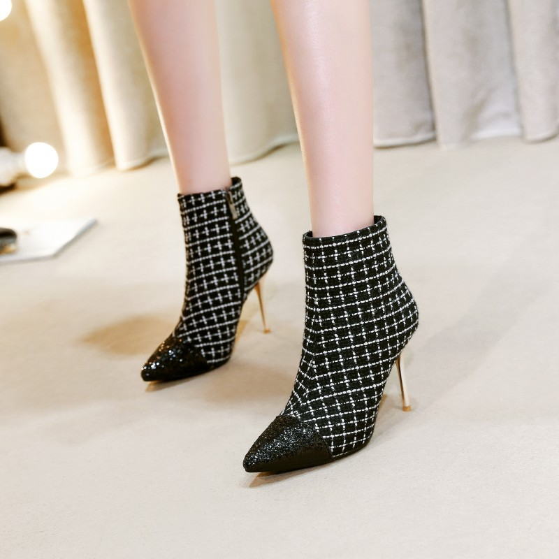 Fashion Gingham Ankle Boots in Pointed toe with Zipper Sexy Thin Heels Spring Boots Patchwork Material Casual Big SizeFashion Gingham Ankle Boots in Pointed toe with Zipper Sexy Thin Heels Spring Boots Patchwork Material Casual Big Size