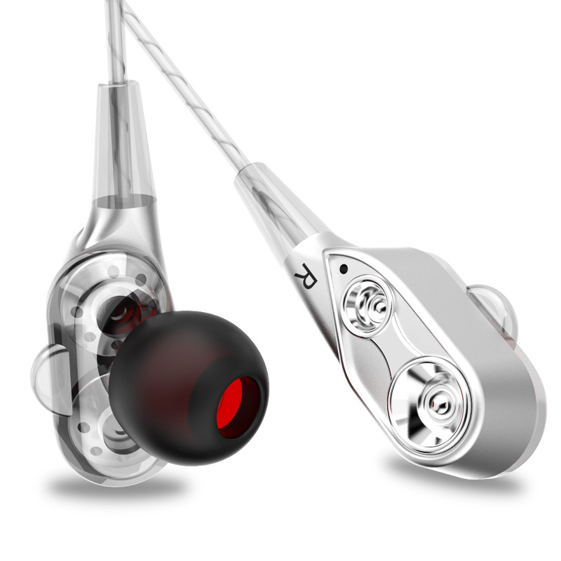 Wired earphone High bass dual drive stereo In-Ear Earphones With Microphone Computer earbuds For Phone Sport