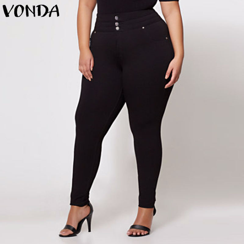 VONDA Women Sexy Pencil Pants 2018 Autumn High Waist Casual Solid Zipper Trousers Plus Size Skinny Slim Leggings Baggy Bottoms