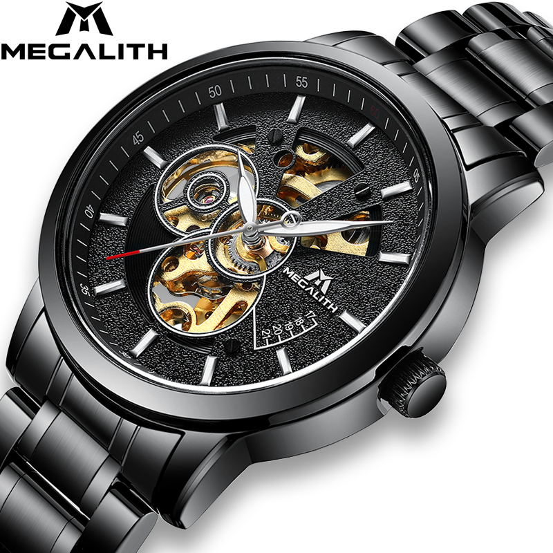 MEGALITH Original Top Brand Men Watch Luxury Automatic Mechanical Watch Waterproof Black Stainless Steel Watch Male Clock
