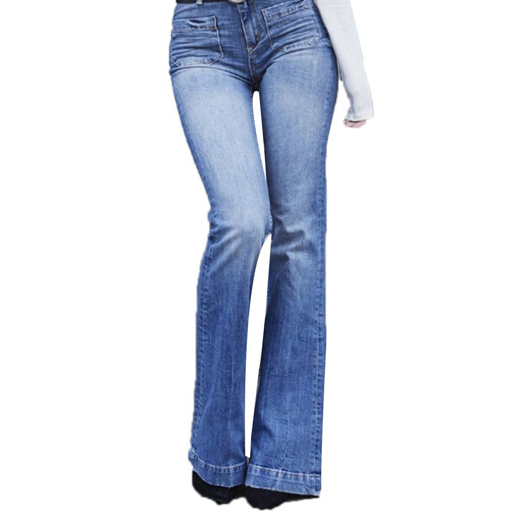 Women Fashion High Waist Solid Button Stretchy All Seasons Causal Blue Full Length Flared   Jeans