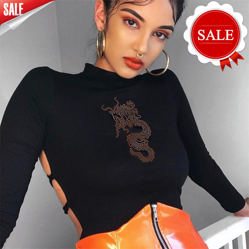 Bodysuits Women Sexy Dragon Embroidery Turtleneck Long Sleeve Autumn Winter Ladies Streetwear Playsuit Bodycon   Jumpsuit   Overalls