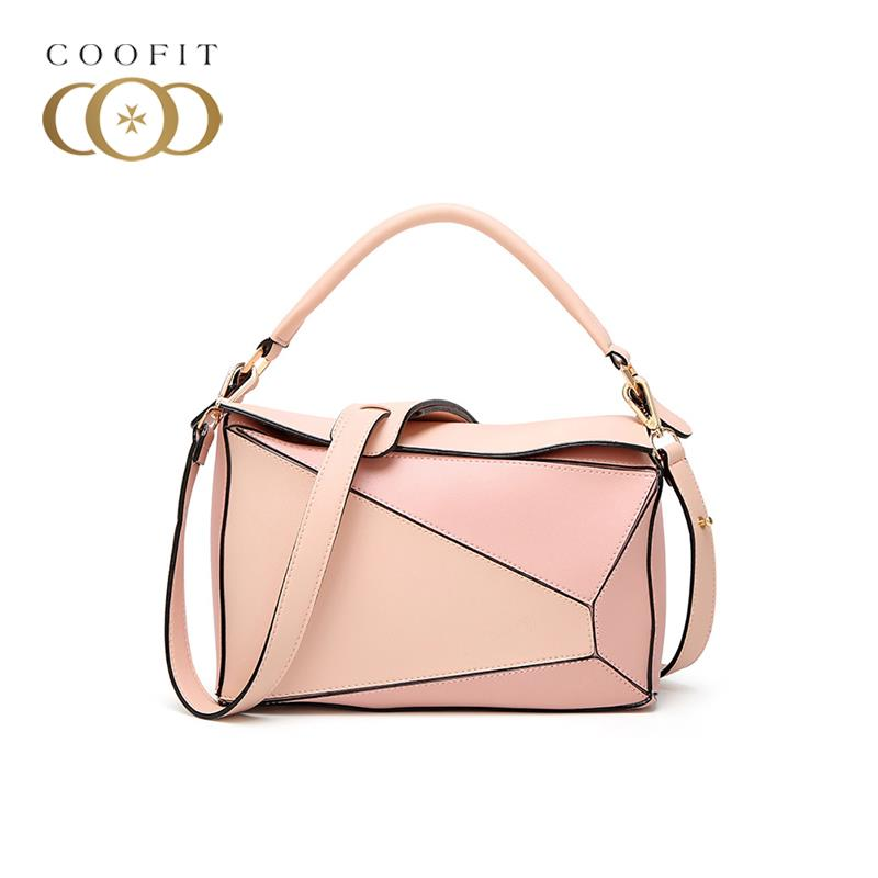 coofit Individual Crossbody Bags For Ladies Pillow Pattern PU Leather Patchwork Color Leisure Vintage Women Messenger