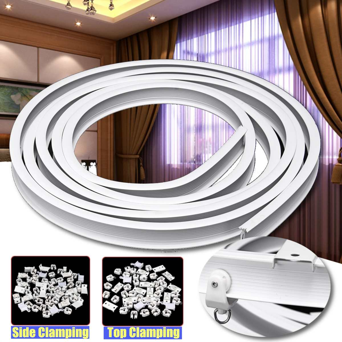 4m Curtain Track Rail Flexible Ceiling Mounted For