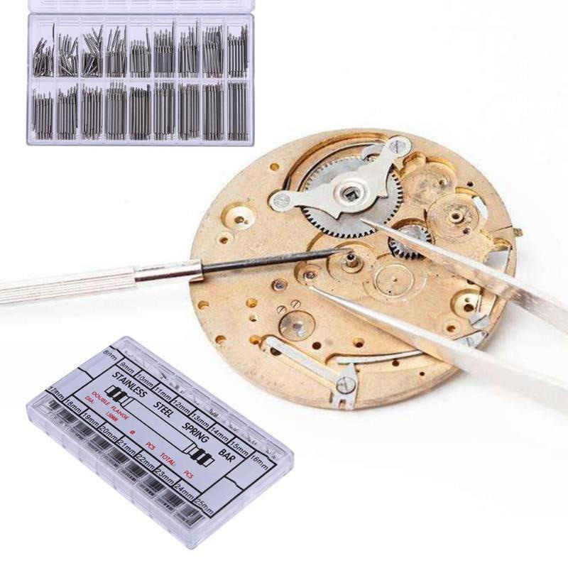 360 Pcs 8mm כדי 25mm נירוסטה שעונים בנד רצועת האביב בר קישור סיכות כלי מסיר חדש כסף תיקון שעון קיט