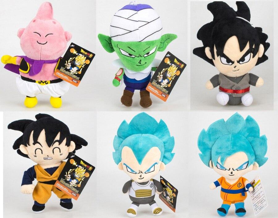 6pcs set Dragon Ball Z Figures Plush Doll Super Saiyan God Son Goku Buu Vegeta Piccolo