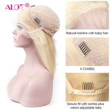 ALOT Honey Blonde 613 Human Hair Lace Frontal Wig Short Straight Lace Front Hair Wigs Brazilian Remy Pre plucked Bob Wig(China)