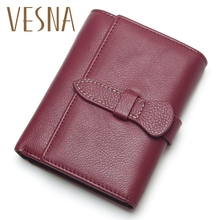Купить с кэшбэком 2019 New Small Women Wallets Female Top Genuine Leather Short Womens Wallet Zipper Design With Coin Purse Pockets Soft Walet
