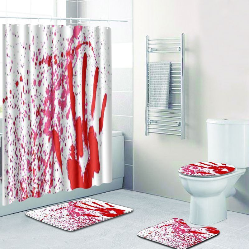 3d Horror Blood Handprint Shower Curtain Polyester Waterproof Fabric Curtains For Bathroom Carpet Floor Mats Toilet Pad 4Pcs Set in Shower Curtains from Home Garden