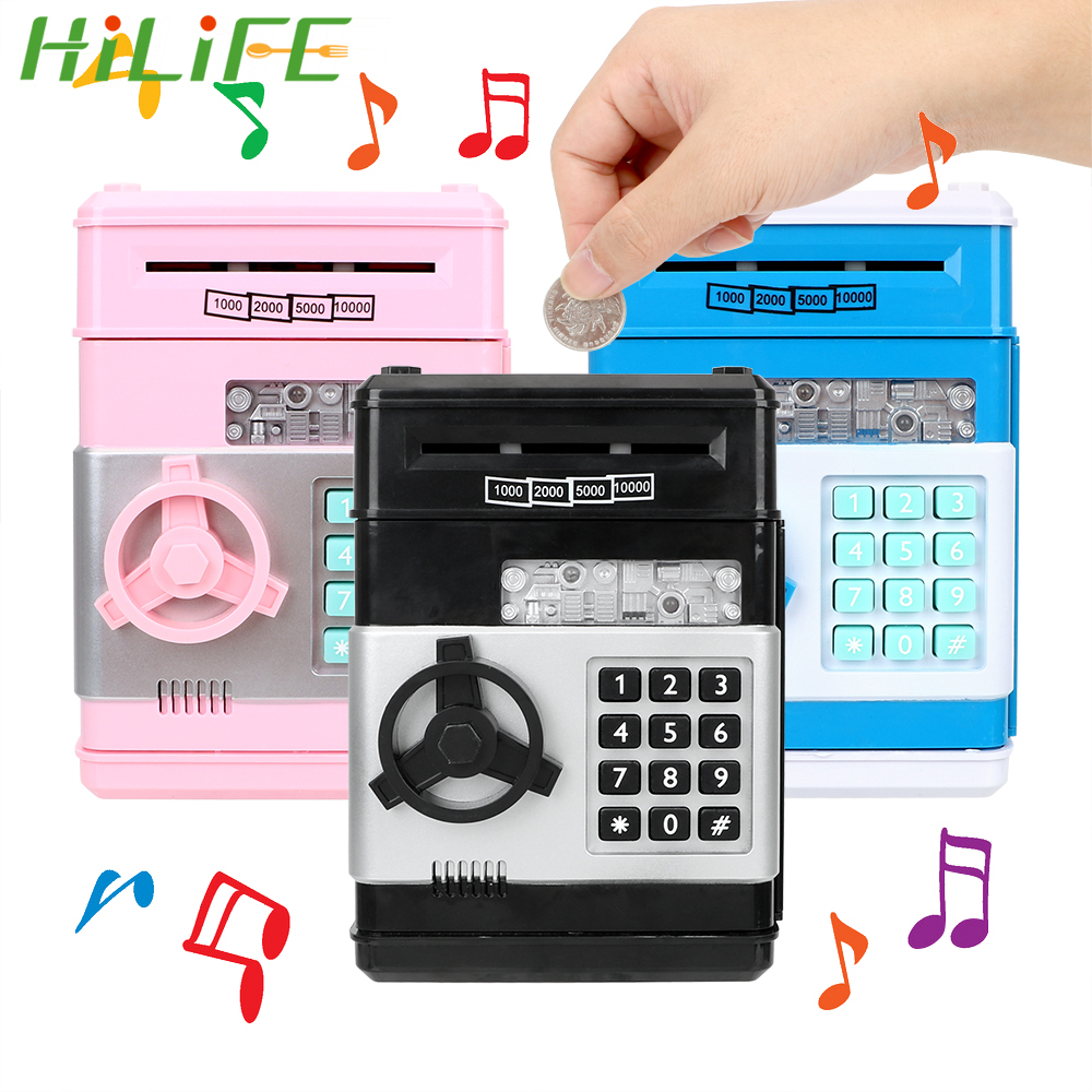 HILIFE Automatic Insert Bills Christmas Gift Password Money Box  Cash Coins Saving Box ATM Bank Safe Box  Electronic Piggy