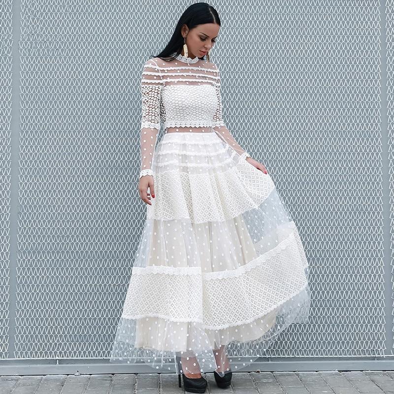 Haute qualité robe de piste 2019 printemps femmes Sexy Perspective à manches longues blanc à pois robe maille longue robe de soirée