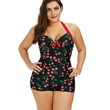 Wipalo Plus Size Cherry Print Women Playsuits Halter Mini Vintage One Piece Suit Summer Women S