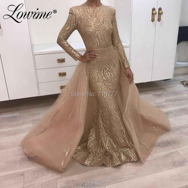 Paillettes deux pièces robes de bal or argent robe de soirée avec jupe détachable 2019 arabe robe de soirée bordeaux à manches longues robe