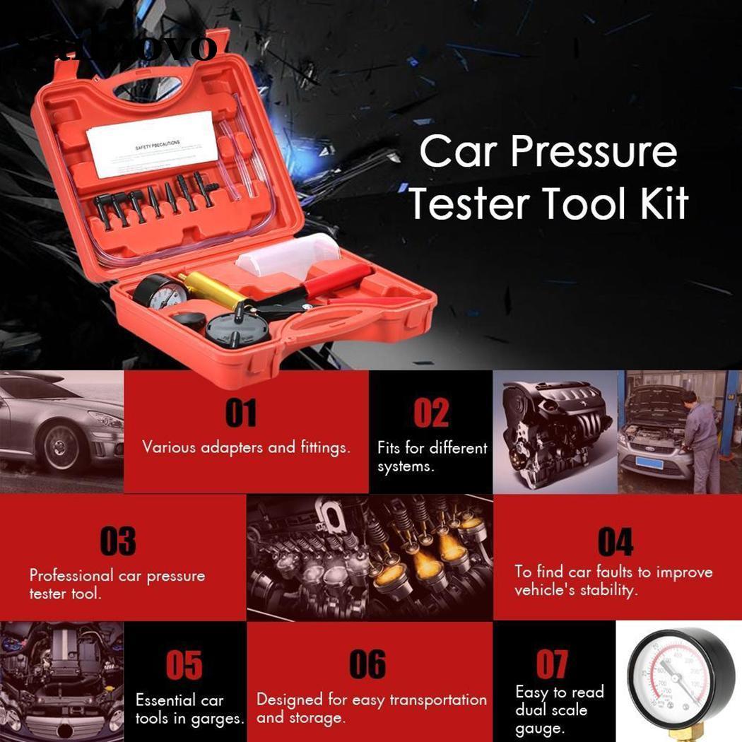 12PCS/Set Car Auto Pressure Tester Kits Car Diagnostic Tool Vacuum Pump Adapter Fluid Reservoir Tester Outdoor Car Accessories