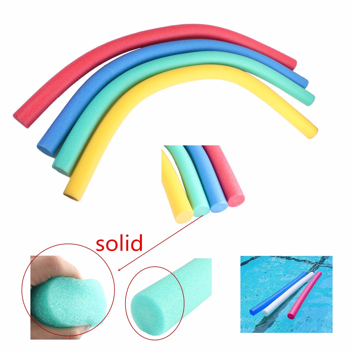 Flexible Swimming Pool Noodles Float Swimming Foam Kickboard Water Float Aid Woggle For Child Adult
