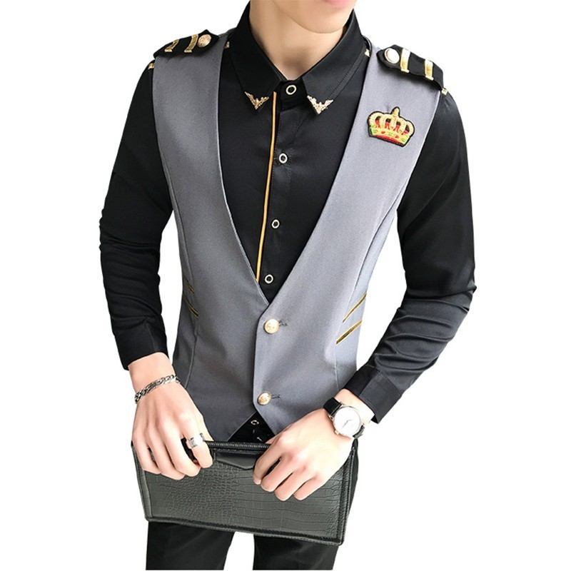 Solid Color Small Crown Embroidery Man Fashion Slim Fit Vest Nightclub Hairstyle Division Vest Man New Arrival Chaleco Hombre