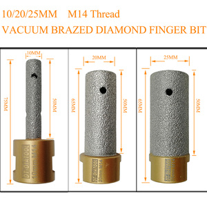 Image 2 - DT DIATOOL 1pc Dia 10/20/25mm Vacuum Brazed Diamond Finger Bits 5/8 11 or M14 Thread Milling Bits for Porcelain Marble Granite