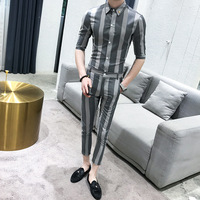2019 Suit Men Summer Grey Stripe Mens Suits Designers Set Suit Slim Fit Tuxedo Costume Mariage Homme Smoking Uomo Trajes De