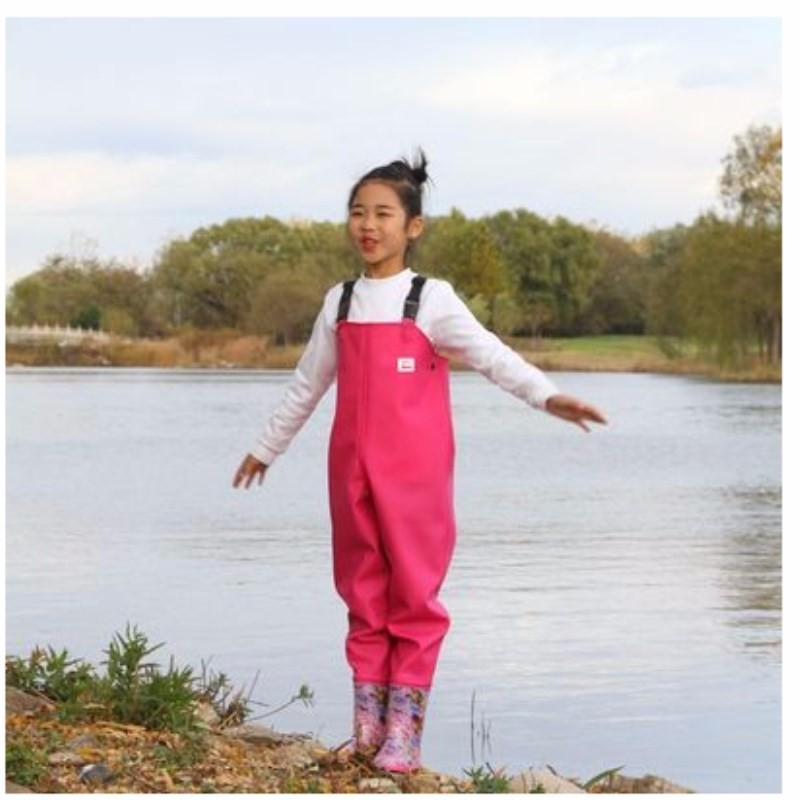 EU 25-36 Kids Waterproof Wader Pants With Rain Boots Outdoor Girl Boy Playing Water Angling Beach Fishing Suspender TrousersEU 25-36 Kids Waterproof Wader Pants With Rain Boots Outdoor Girl Boy Playing Water Angling Beach Fishing Suspender Trousers